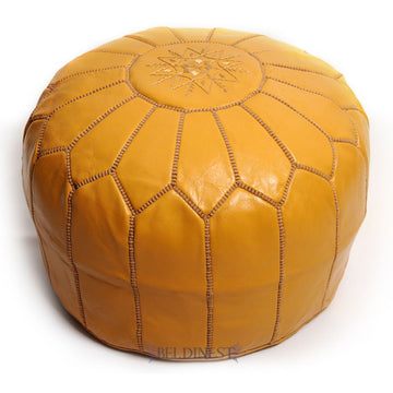 moroccan-mustard -leather-pouf