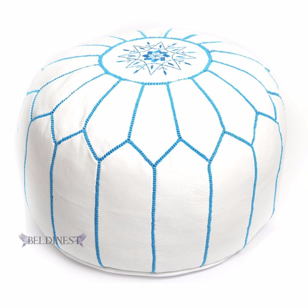 Embroidered Leather Pouf- White with Turquoise Stitching