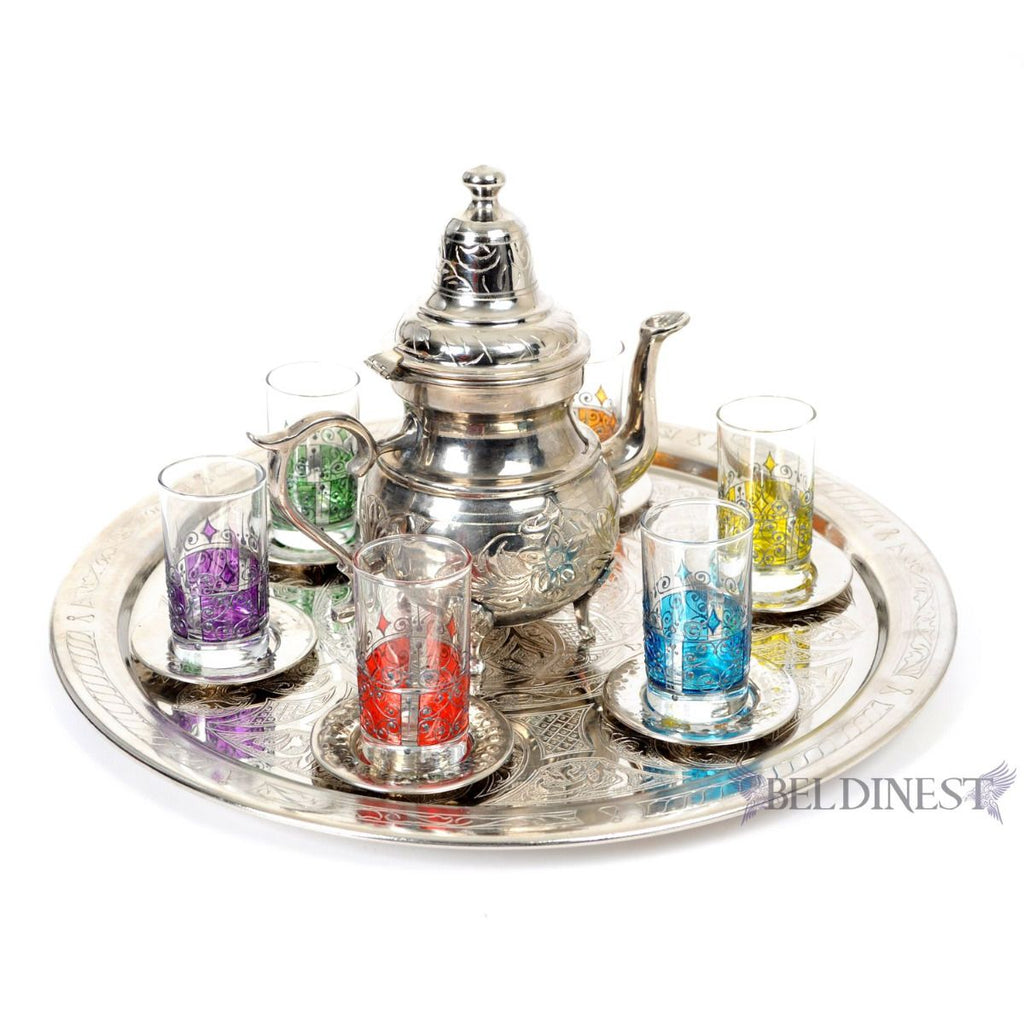 Hand Painted Tea Glasses Set- Beautiful Moorish 6 Glass Teacups