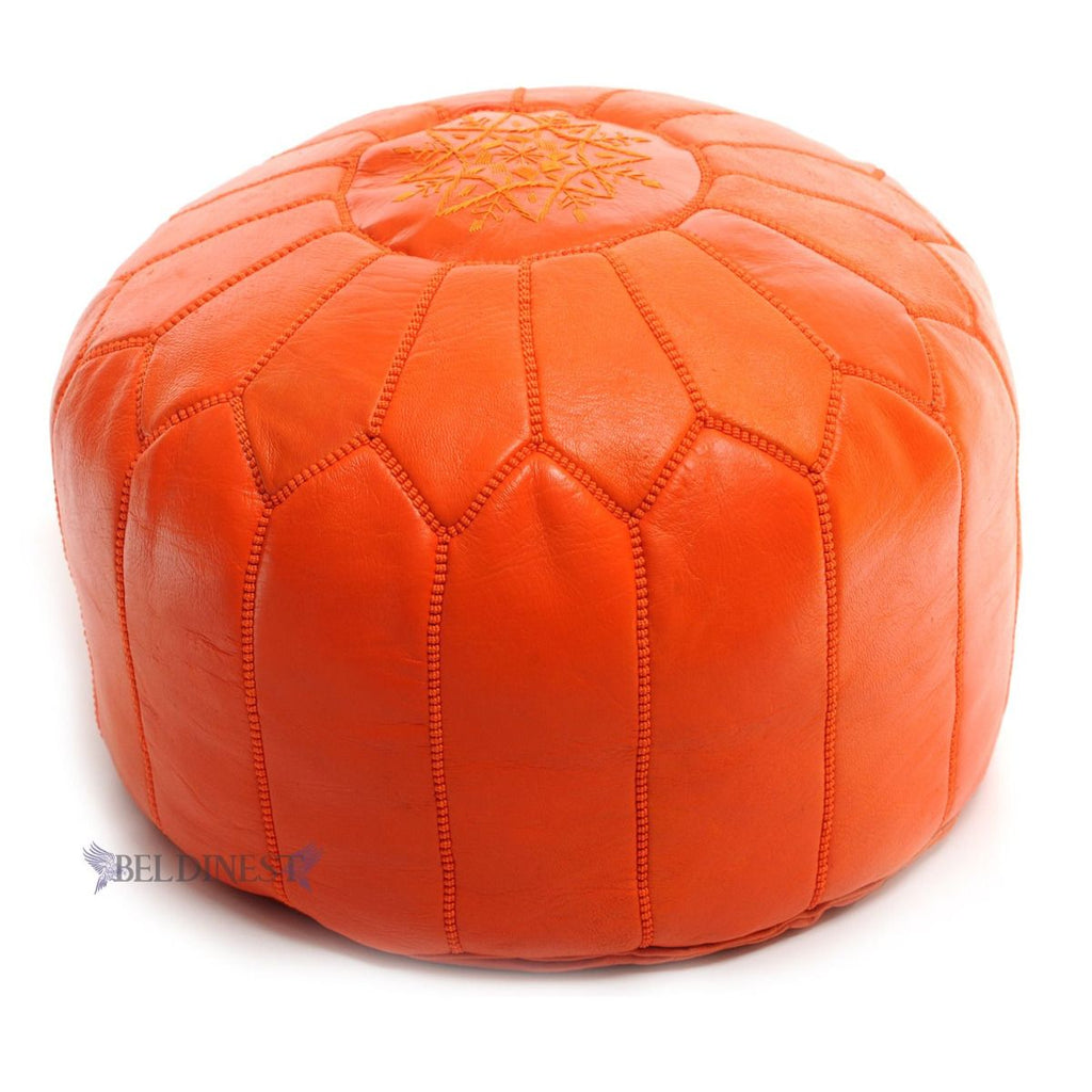 Embroidered Leather Pouf- Orange