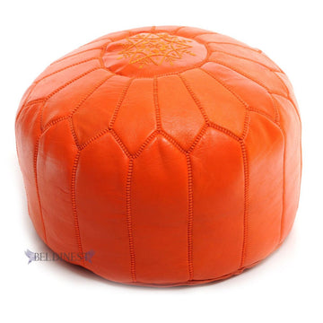 moroccan-orange-leather-pouf