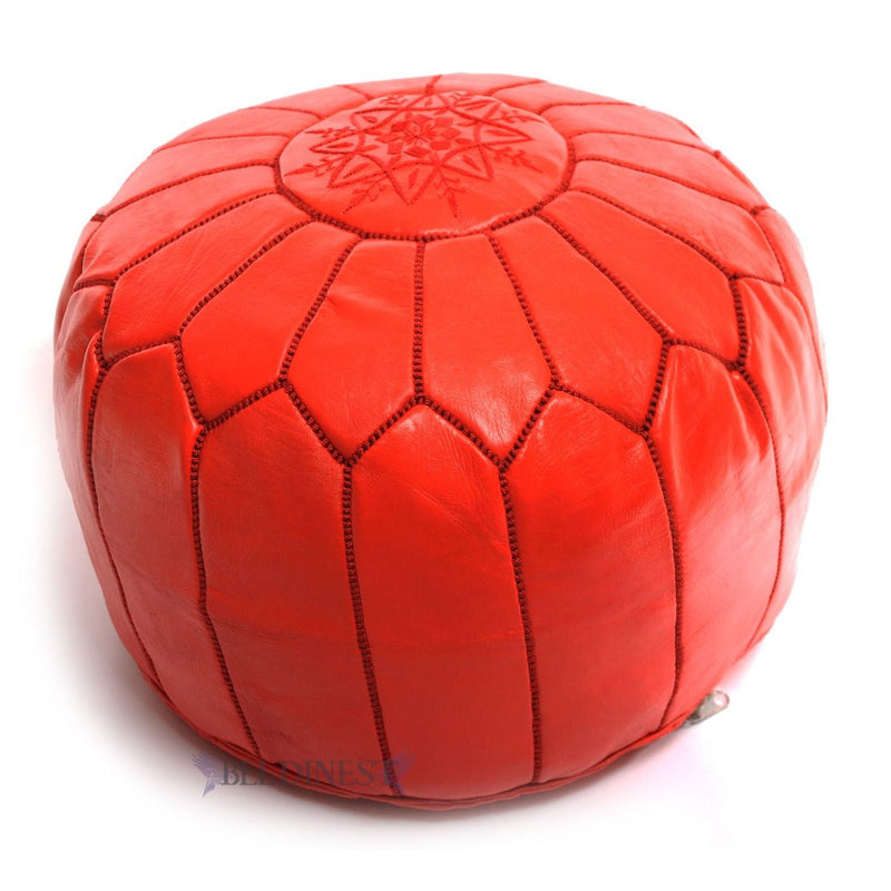 Embroidered Leather Pouf- Red