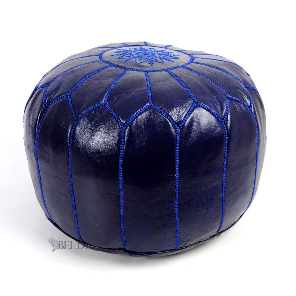 Embroidered Leather Pouf- Royal Blue