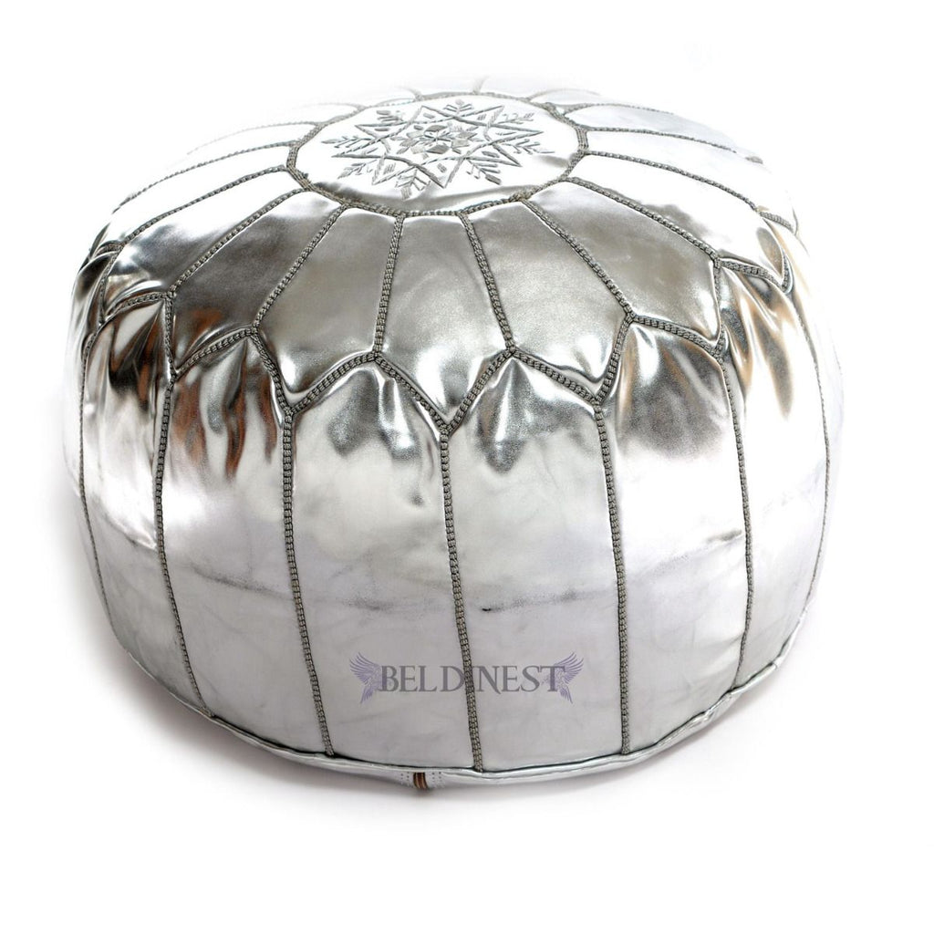 Embroidered Leather Pouf- Silver Metallic Ski Leather Pouf