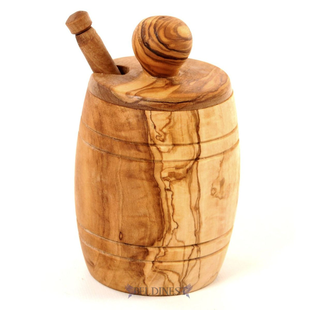 Honey  Jar and Dipper Made from Olive Wood