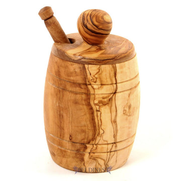 Honey Pot and Dipper Made from Olive Wood