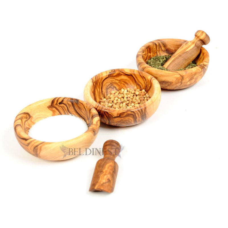 Set of 3 Mini Wooden Spice Bowls