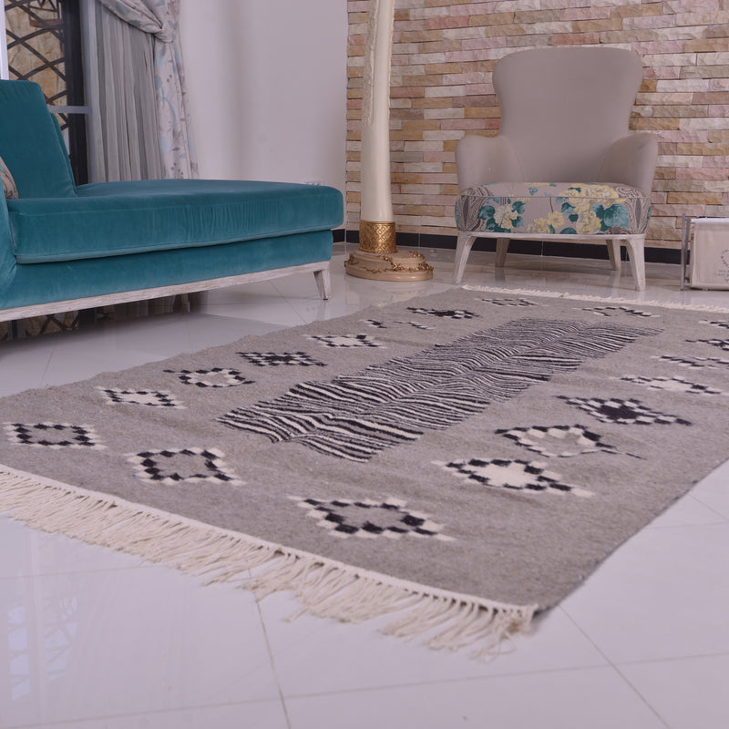 Grey Berber Kilim  Moroccan Wool Rug - Hand Knotted