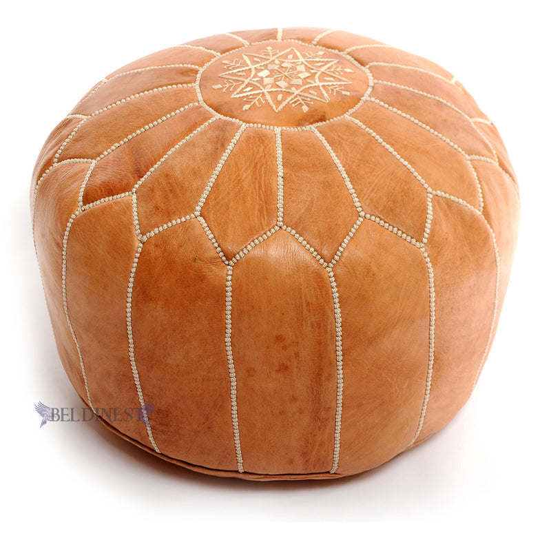 Embroidered Leather Pouf- Pink