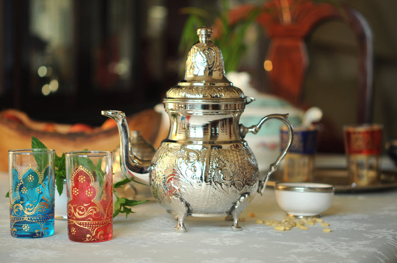 Moroccan Brass Teapot Silver Plated Hand Engraved