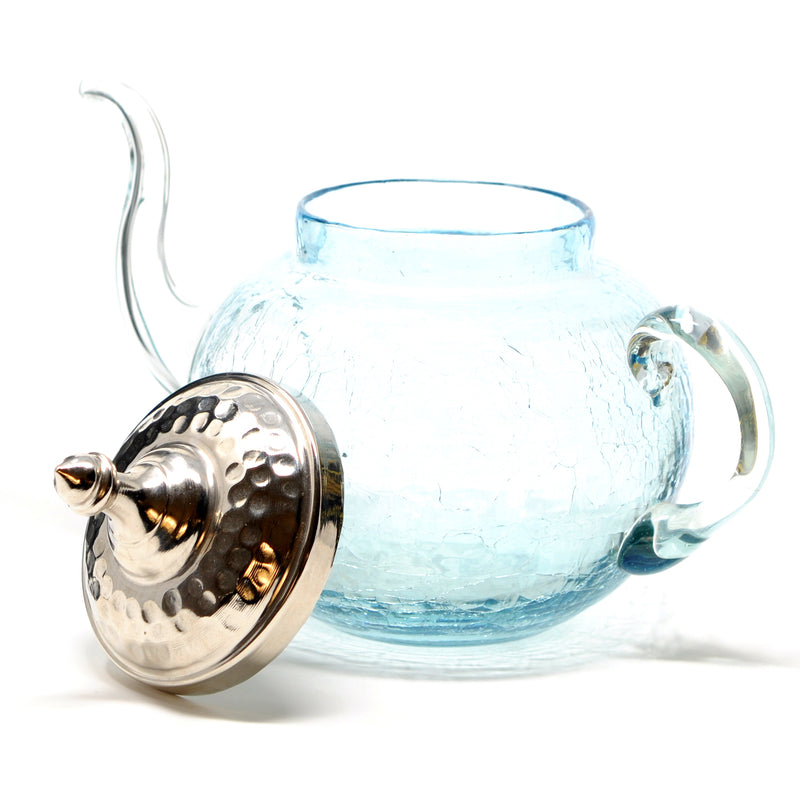 Crackle Glass Teapot with Hand Hammered Copper Lid