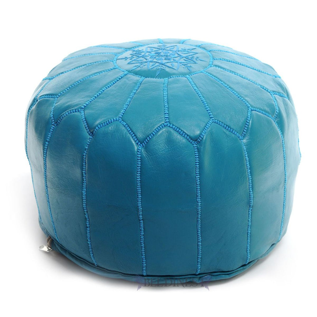 Embroidered Leather Pouf- Turquoise