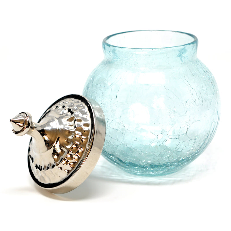 Crackle Glass Sugar Bowl