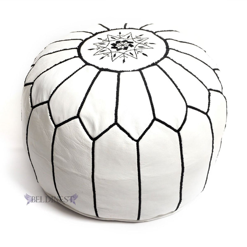 Embroidered Leather Pouf- White with Black Stitching