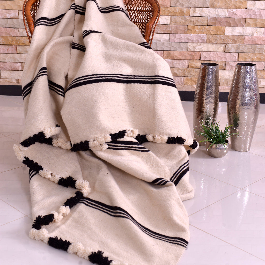 Wool Blanket Tri-Striped White with Black