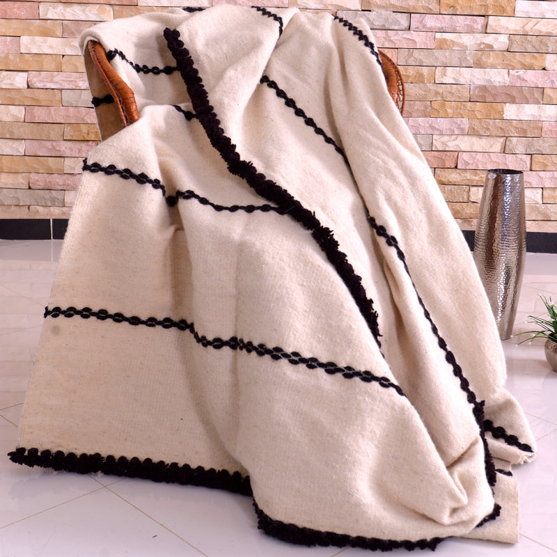 Berber Wool Blanket White with Black Stripe