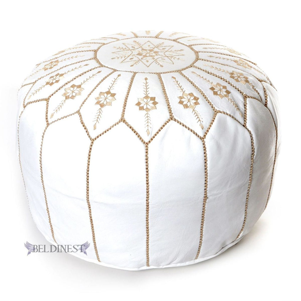 Moroccan Leather Pouf- White Flower