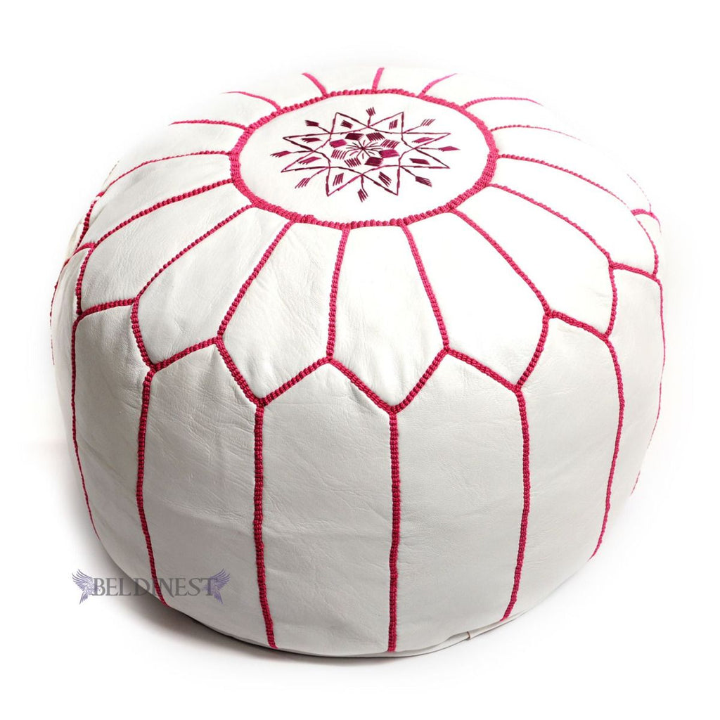 Embroidered Leather Pouf- White with Fuchsia Stitching