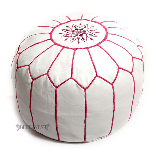 White pouf with Fuchsiastitching