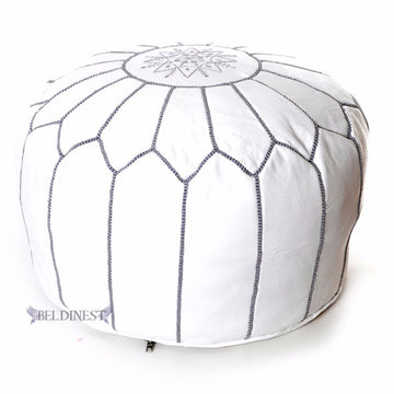 White pouf with grey stitching