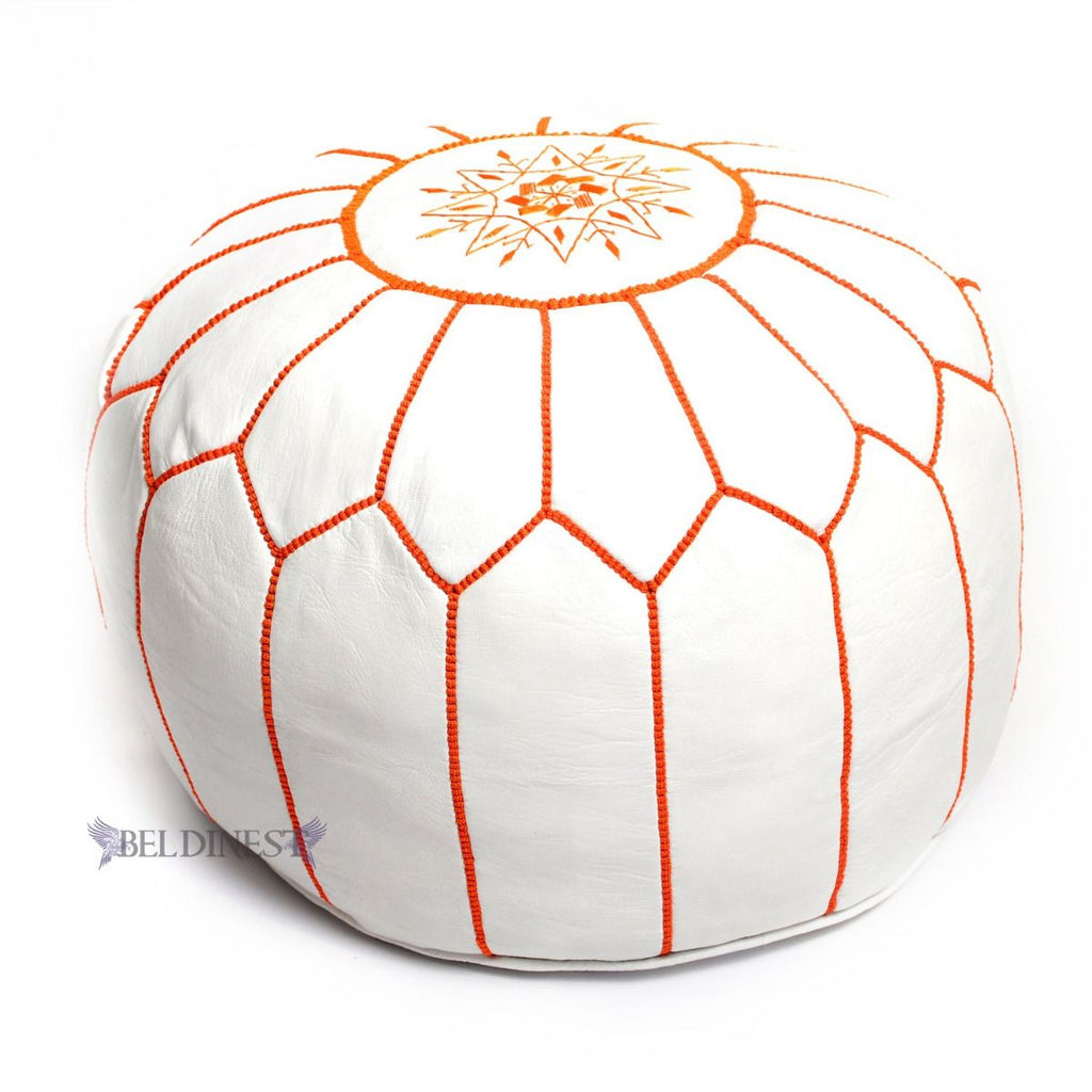 Embroidered Leather Pouf- White with Orange Stitching