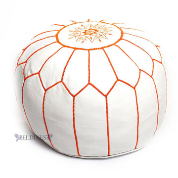 Stuffed Moroccan Leather Pouf White/Orange Handmade Ottoman Pouffe, Hassock, Tuffet, Foot Stool, Seating Foot Rest