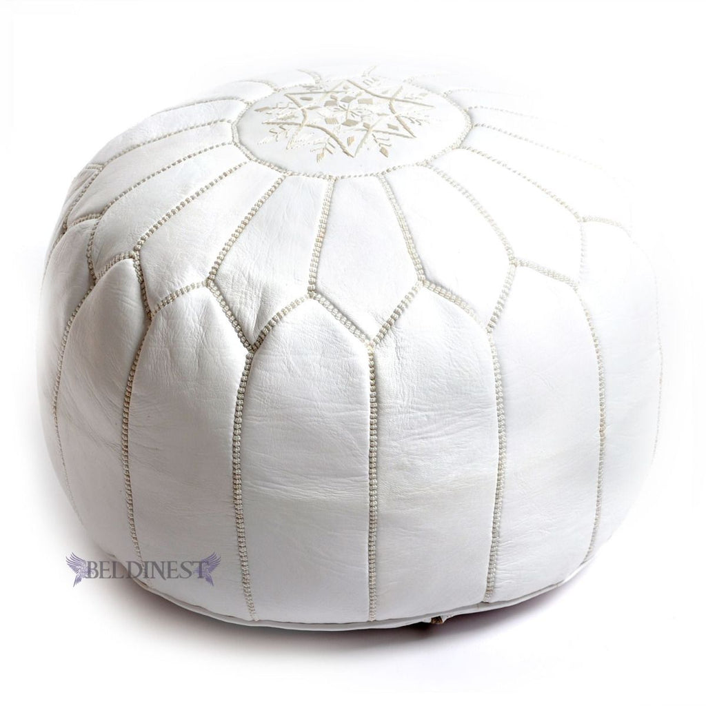 Embroidered Leather Pouf- White