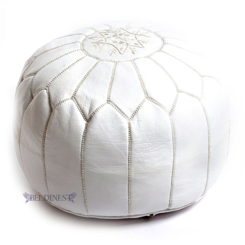 Embroidered Leather Pouf- Natural