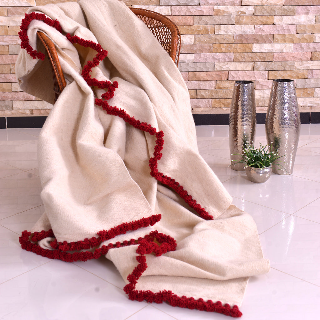 Berber Wool Handwoven Blanket White With Chili Red