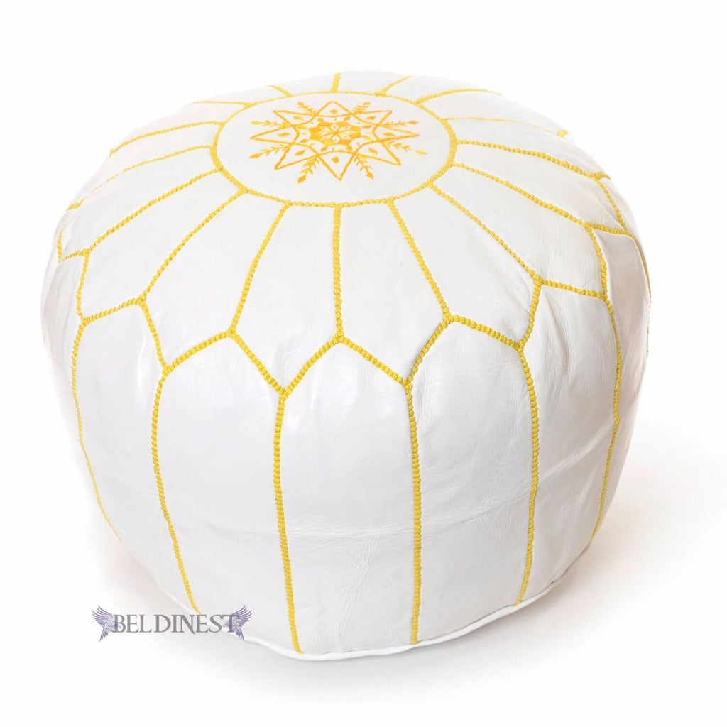 Embroidered Leather Pouf- White with Yellow Stitching