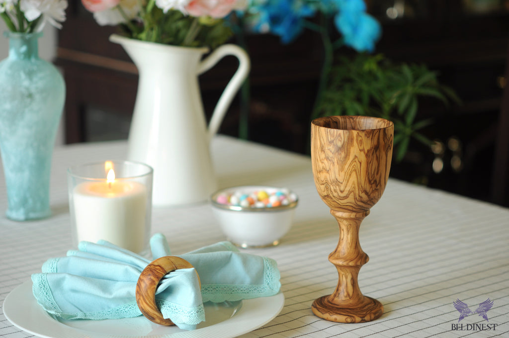Olive Wood Wedding Goblets - Set of 2
