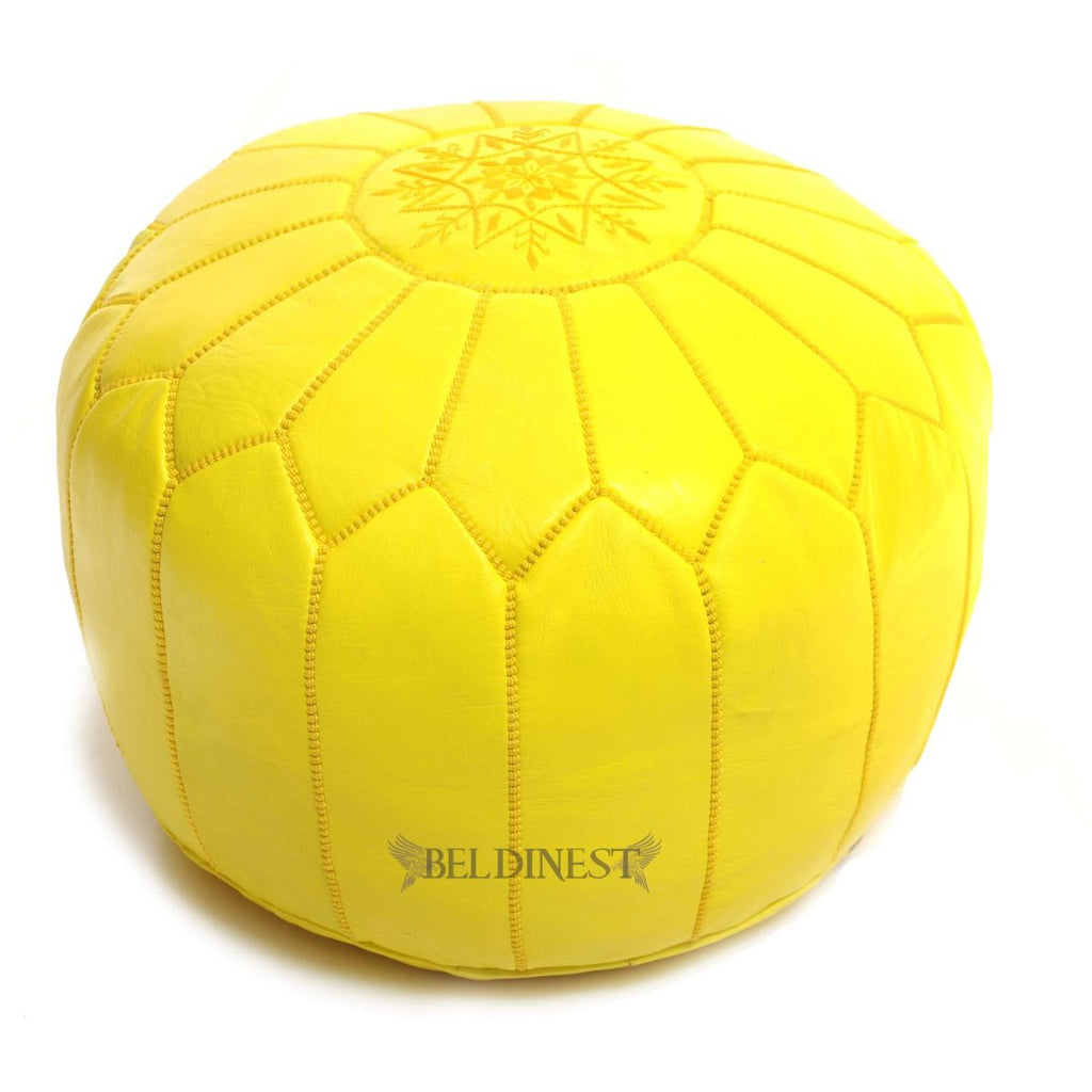 Embroidered Leather Pouf- Yellow