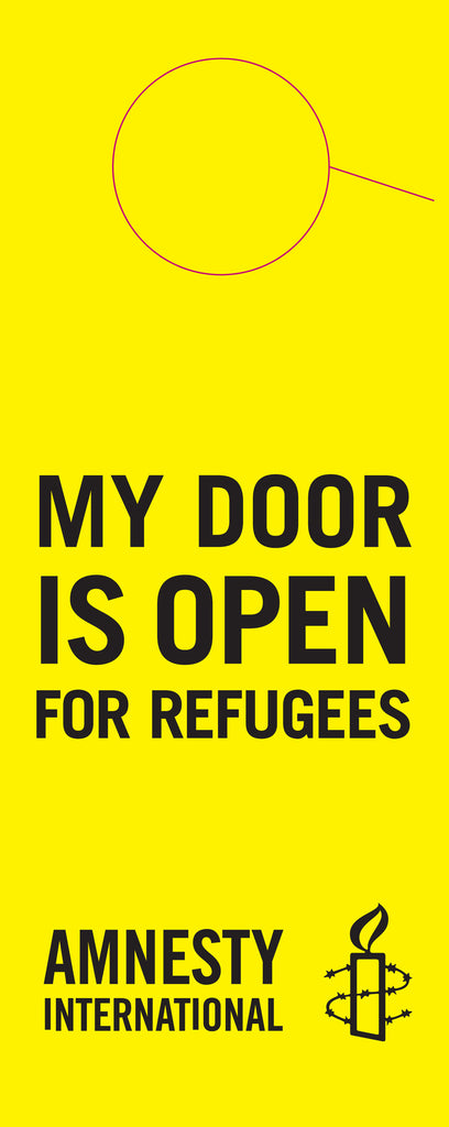 """MY DOOR IS OPEN FOR REFUGEES""  Door knocker"