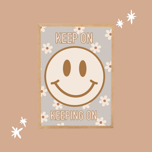 Keep On Smiley Face Digital Artwork (Blue)