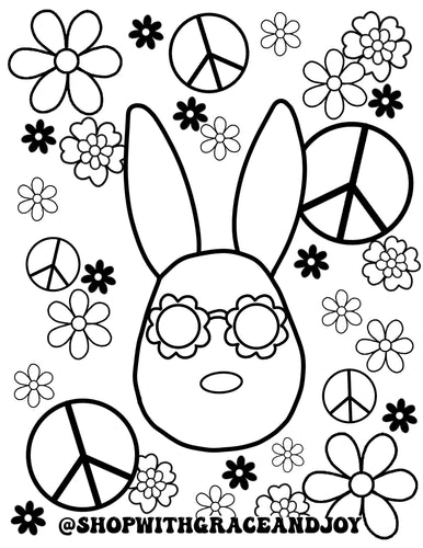 Peace + Bunnies Coloring Page