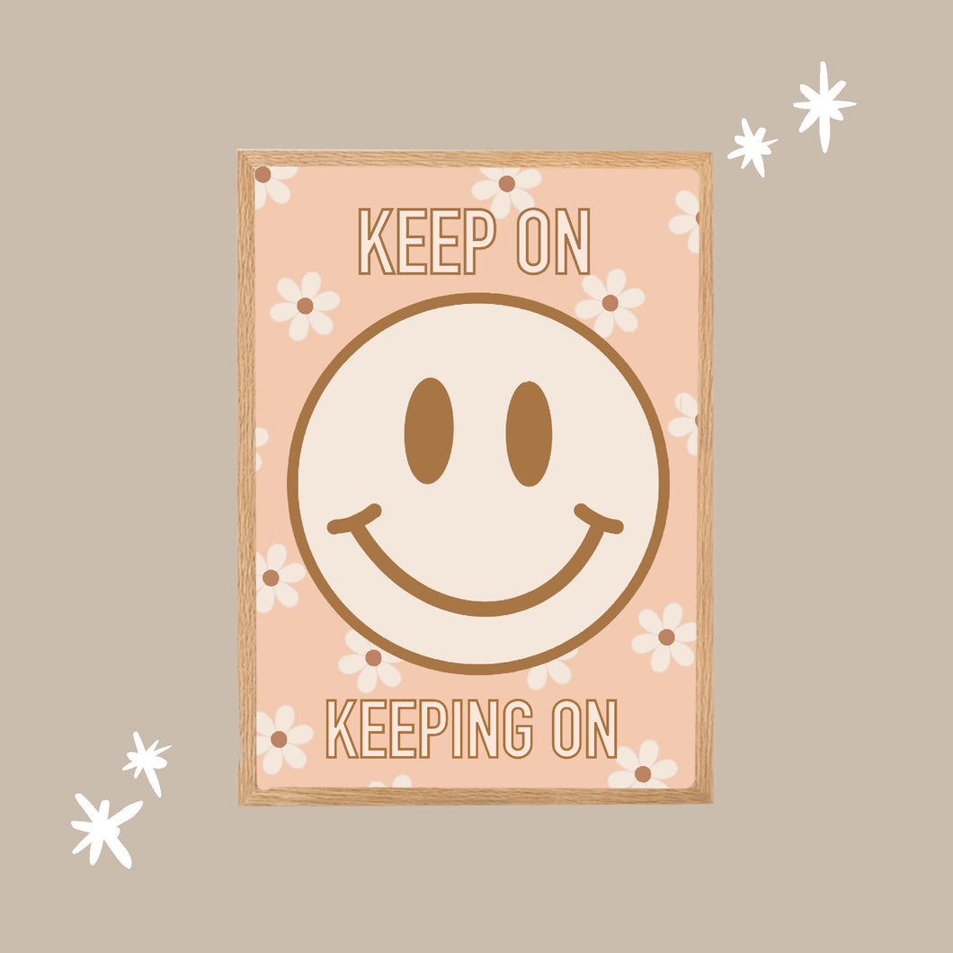 Keep On Smiley Face Digital Artwork (Peach)