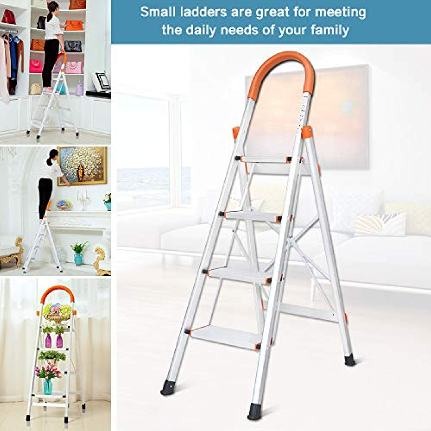 Terrific Dgcus Lightweight Aluminum 4 Step Ladder Folding Step Stool 5 Foot Stepladders Home And Kitchen Anti Slip Sturdy And Wide Pedal Ladders 300Lbs Machost Co Dining Chair Design Ideas Machostcouk