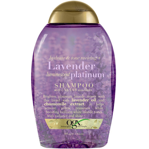 OGX Hydrate & Tone Reviving + LAVENDER Luminescent PLATINUM SHAMPOO 13 Oz
