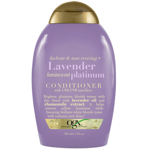 OGX Hydrate & Tone Reviving + LAVENDER Luminescent PLATINUM CONDITIONER 13 Oz