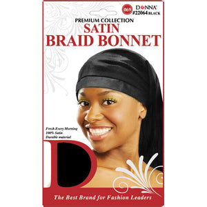 [PACK OF 6] Donna Collection Satin Braid Bonnet #22064 Black