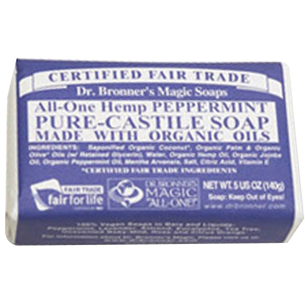 Dr. Bronner Pure-Castile Bar Soap ALL IN ONE  PEPPERMINT 5 Oz ea