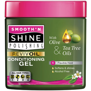 SMOOTH N SHINE OLIVE & TEA TREE OIL COND. GEL 6 OZ - FLEXIBLE HOLD (#6)*