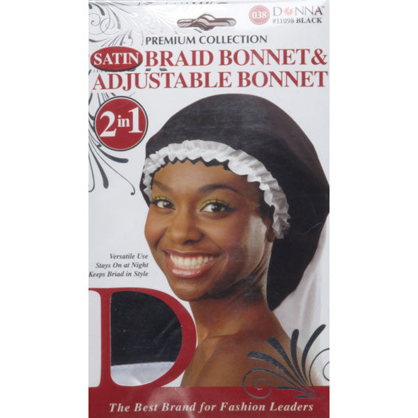 [PACK OF 6] Donna 2in1 Satin Braid Bonnet & Adjustable Bonnet #11098 Black