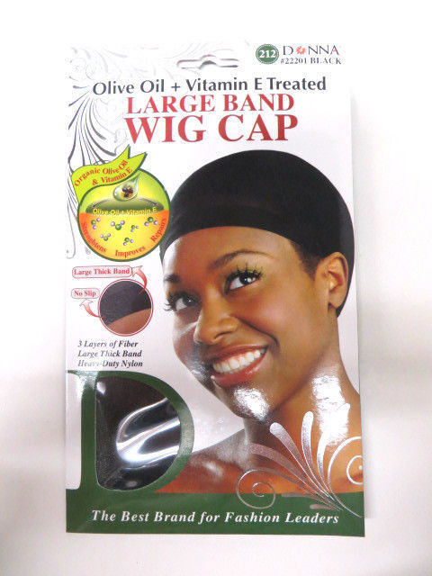 [PACK OF 6] Donna Olive Oil + Vitamin E Treated Large Band WIG CAP #22201 Black