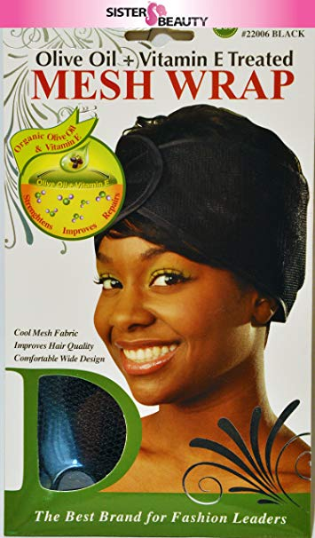 [PACK OF 6] Donna Olive Oil + Vitamin E Treated Mesh Wrap #22006 Black