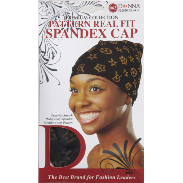 [PACK OF 6] Donna Pattern Real Fit Spadex Cap #22020 Black