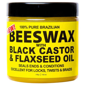 Eco Black Castor & Flaxseed Oil 100% Pure Brazilian BEESWAX  4 Oz