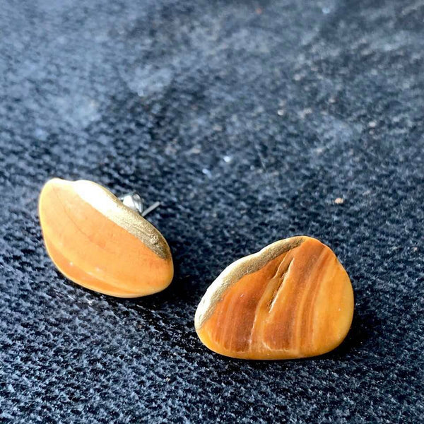 Orange Shell Stud Earrings