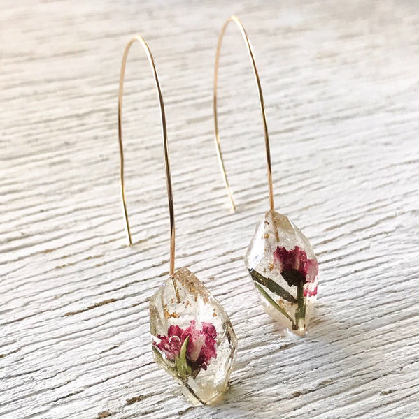 Gemento Half Hoop Earrings - Pink Manuka Flowers