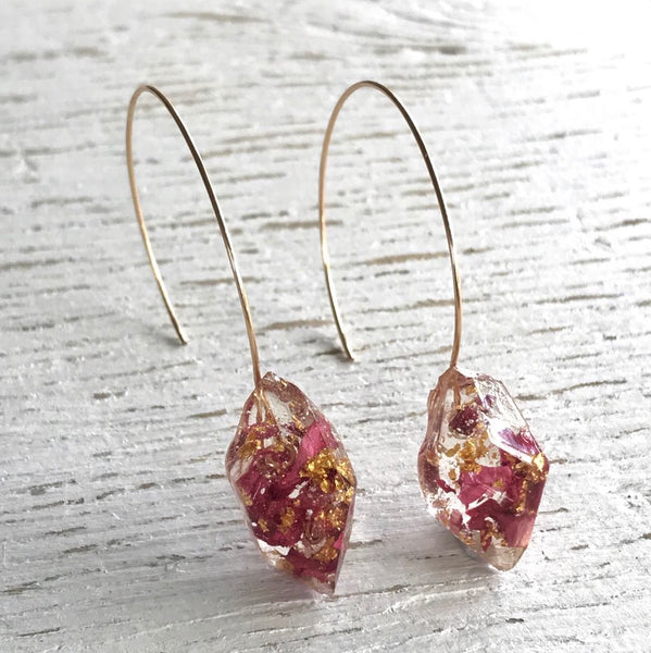 Gemento Half Hoop Earrings - Pink Petals
